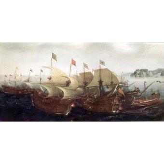 cuadros de marinas - Cuadro -Batalla Naval- - Vroom, Hendrick