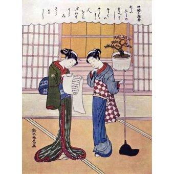 cuadros etnicos y oriente - Cuadro -Misiva- - _Anónimo Japones