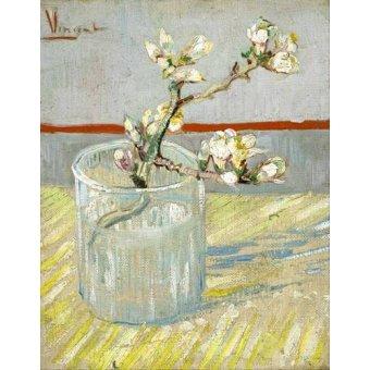 cuadros de bodegones - Cuadro -Rama de almendro en flor, en vaso de cristal - - Van Gogh, Vincent