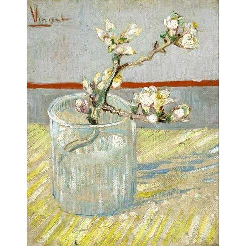 cuadros decorativos - Cuadro -Rama de almendro en flor, en vaso de cristal -