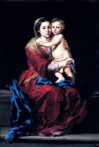 cuadros-religiosos - Cuadro -La Virgen del Rosario- - Murillo, Bartolome Esteban