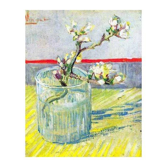 cuadros de flores - Cuadro -Rama de almendro en flor, en vaso de cristal-