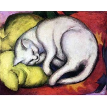 cuadros de fauna - Cuadro -Tomcat sobre cojin amarillo- - Marc, Franz