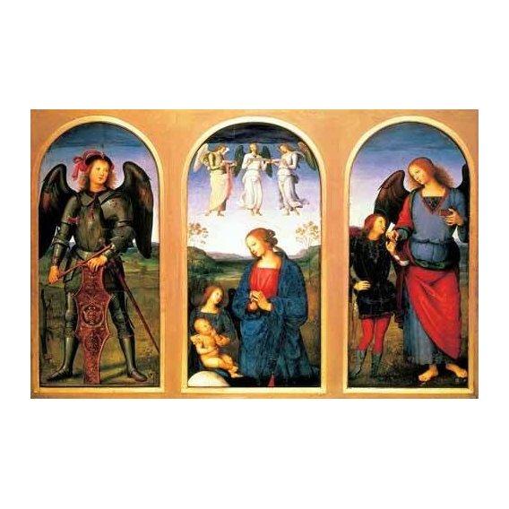 cuadros religiosos - Cuadro -La Virgen y el Niño con los arcángeles Miguel y Rafael-