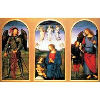 - Cuadro -La Virgen y el Niño con los arcángeles Miguel y Rafael- - Perugino, Pietro Vannucci