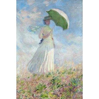 cuadros de retrato - Cuadro -Estudio de figura al aire libre, mujer con sombrero- - Monet, Claude