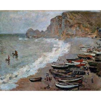 Cuadro -La playa y acantilados de Amont en Etretat, 1883- - Monet, Claude
