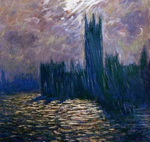 cuadros-de-paisajes - Cuadro -London Parliament, effects on the Thames, 1905- - Monet, Claude