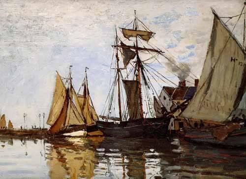 cuadros-de-marinas - Cuadro -Pont of Honfleur Sun- - Monet, Claude
