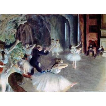 - Cuadro -The rehearsal of the ballet on stage- - Degas, Edgar