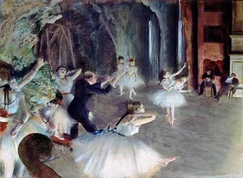 cuadros-de-retrato - Cuadro -The rehearsal of the ballet on stage- - Degas, Edgar