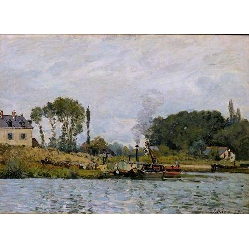 Cuadro -Boats at the lock at Bougival, 1873-