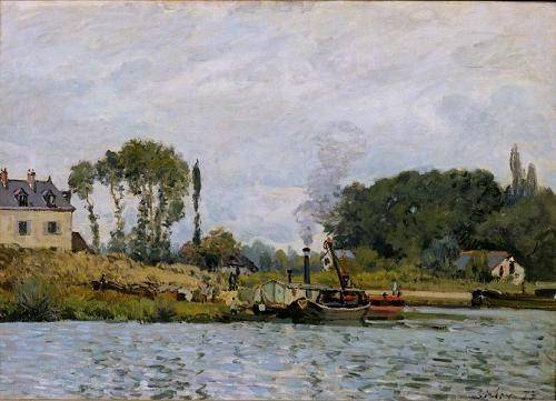 cuadros-de-marinas - Cuadro -Boats at the lock at Bougival, 1873- - Sisley, Alfred