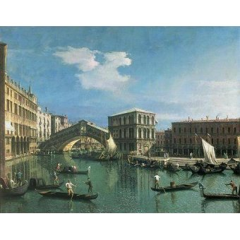 - Cuadro -The Rialto Bridge, Venice- - Canaletto, Giovanni A. Canal