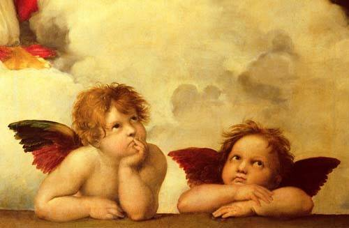 cuadros-religiosos - Cuadro -Los dos angeles- - Rafael, Sanzio da Urbino Raffael