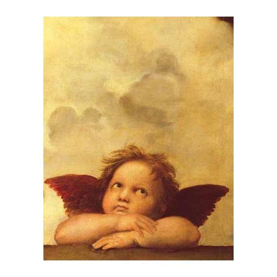 cuadros religiosos - Cuadro -Los dos angeles (detalle angel dcha).-