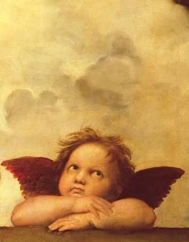 cuadros-religiosos - Cuadro -Los dos angeles (detalle angel dcha).- - Rafael, Sanzio da Urbino Raffael
