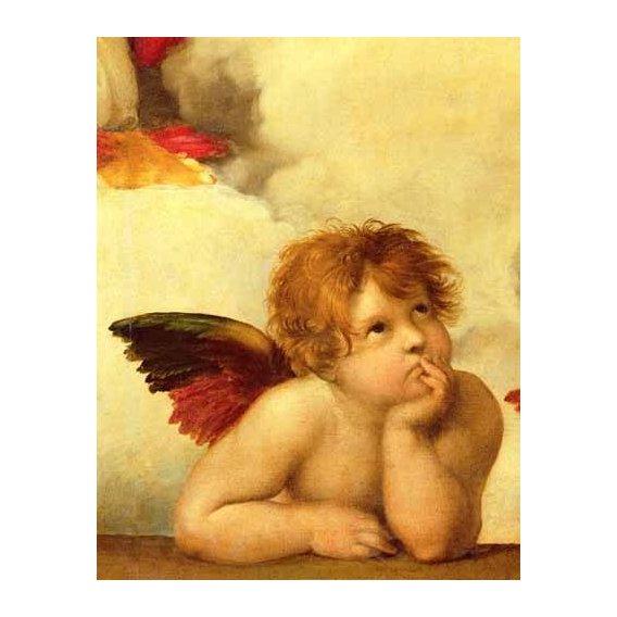 cuadros religiosos - Cuadro -Los dos angeles (detalle angel izqda).-