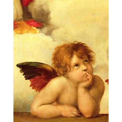 Cuadro -Los dos angeles (detalle angel izqda).-