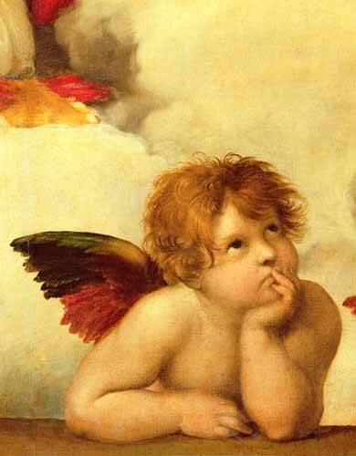 cuadros-religiosos - Cuadro -Los dos angeles (detalle angel izqda).- - Rafael, Sanzio da Urbino Raffael