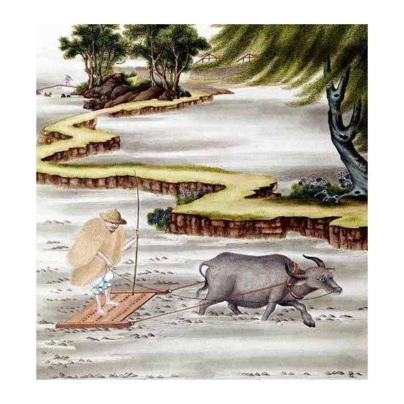 cuadros etnicos y oriente - Cuadro -Campesino labrando el arrozal-