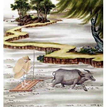 cuadros etnicos y oriente - Cuadro -Campesino labrando el arrozal- - _Anónimo Chino