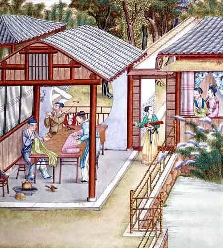 cuadros-etnicos-y-oriente - Cuadro -Despacho de un comerciante de telas- - _Anónimo Chino