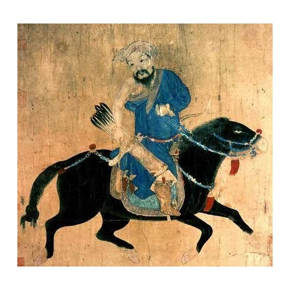 cuadros etnicos y oriente - Cuadro -Arquero Mongolo a caballo-