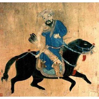 cuadros etnicos y oriente - Cuadro -Arquero Mongolo a caballo- - _Anónimo Chino
