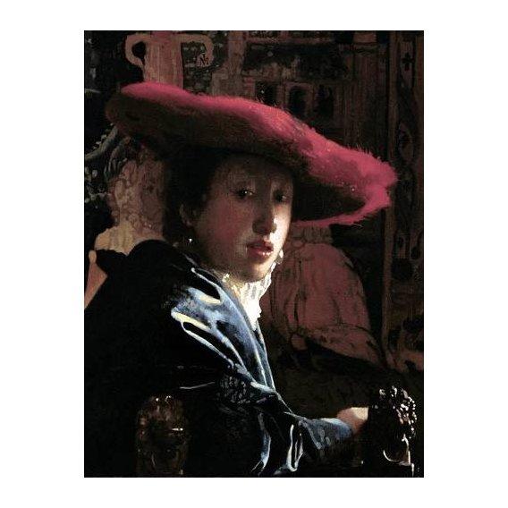 cuadros de retrato - Cuadro -Muchacha con un sombrero rojo-