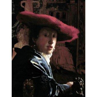 - Cuadro -Muchacha con un sombrero rojo- - Vermeer, Johannes