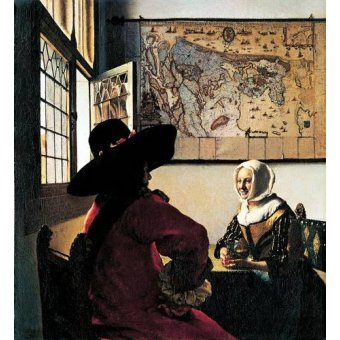 - Cuadro -Soldado y joven sonriente- - Vermeer, Johannes