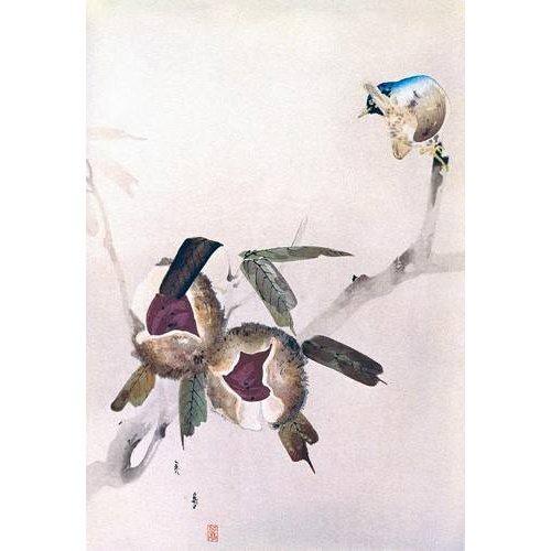 Cuadro -Pequeño pajaro sobre una rama de castaño-