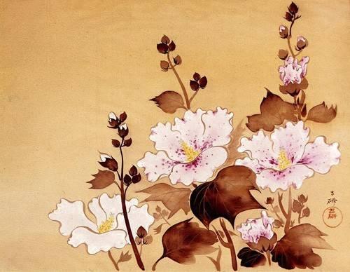 cuadros-etnicos-y-oriente - Cuadro -Flores blancas- - _Anónimo Chino