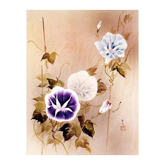 cuadros etnicos y oriente - Cuadro -Enredadera con flores moradas y azules-