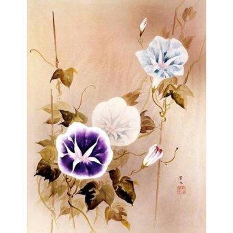 - Cuadro -Enredadera con flores moradas y azules- - _Anónimo Chino