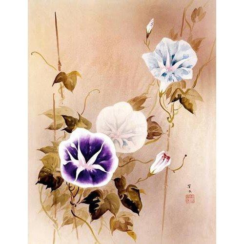 Cuadro -Enredadera con flores moradas y azules-