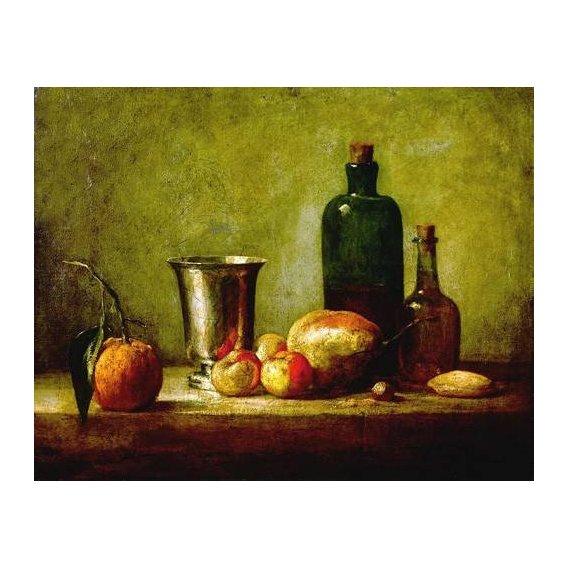cuadros de bodegones - Cuadro -Cubilete de plata, fruta y botellas-