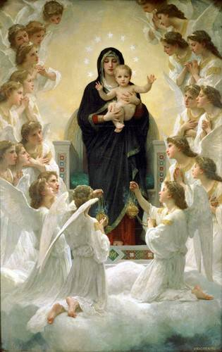 cuadros-religiosos - Cuadro -La Virgen y angeles- - Bouguereau, William