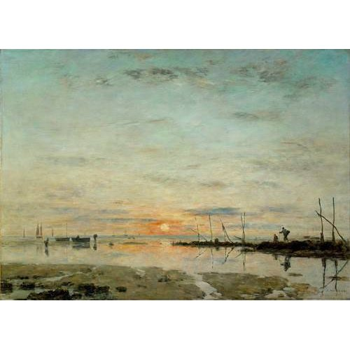 cuadros de marinas - Cuadro -Le Havre, Sunset at low tide-