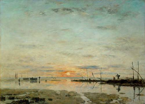cuadros-de-marinas - Cuadro -Le Havre, Sunset at low tide- - Boudin, Eugene