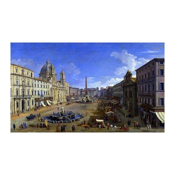 cuadros de paisajes - Cuadro -Roma, vista desde la Piazza Navona-