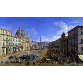 - Cuadro -Roma, vista desde la Piazza Navona- - Canaletto, Giovanni A. Canal