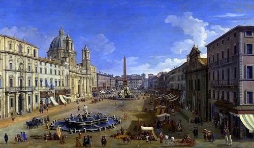 cuadros-de-paisajes - Cuadro -Roma, vista desde la Piazza Navona- - Canaletto, Giovanni A. Canal
