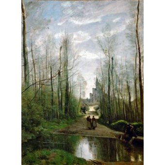 - Cuadro -L'église de Marissel- - Corot, J. B. Camille