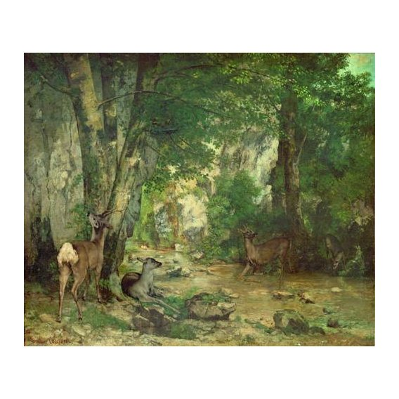 cuadros de paisajes - Cuadro -A Thicket of Deer at the Stream of Plaisir Fountaine-