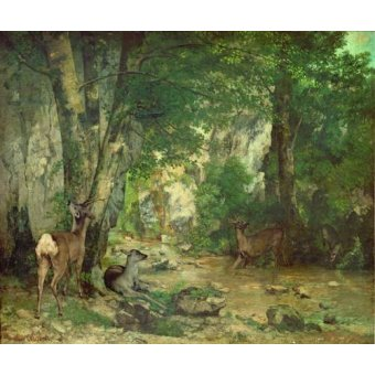 - Cuadro -A Thicket of Deer at the Stream of Plaisir Fountaine- - Courbet, Gustave