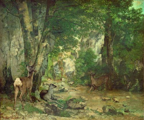cuadros-de-paisajes - Cuadro -A Thicket of Deer at the Stream of Plaisir Fountaine- - Courbet, Gustave