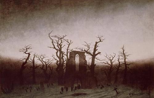 cuadros-de-paisajes - Cuadro -Abbey in the Oakwood, 1810- - Friedrich, Caspar David