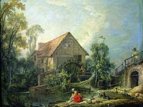 cuadros-de-paisajes - Cuadro -The Mill, 1751 (oil on canvas)- - Boucher, François